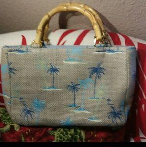 Handbags - 🌴VINTAGE Med Blue-Grey Tropical Pattern Satchel🌴